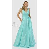 V-Neck and Back Plus Size Mint Green Long Prom Dress with Pockets