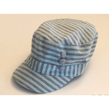 WOMENS SONOMA CADET 3 BUTTON STRIPED HAT WITH ELASTIC BAND