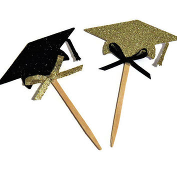 Graduation Cupcake Toppers. glitter grad caps. black and gold graduation party decorations. custom colors. 12 CT