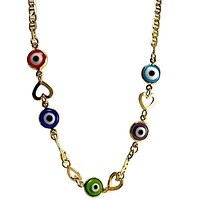 """Heart Evil Eye Mariner Gold Plated  Necklace 18L"""""""
