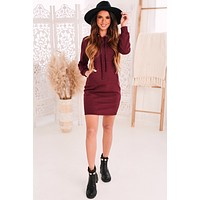 Nothing But Yours Hooded Dress (Burgundy)