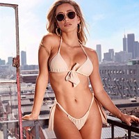 Sexy Bikini Swimwear Women Summer Halter Lace Up Bow Push Up Padded Bra Micro Bikini Thong Two Piece Set