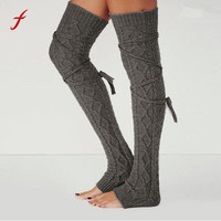 Women's Thigh High Socks 2017 Japan girls Harajuku Style Solid color straps Thigh High cotton Warm Cable Knit Knitted  sock