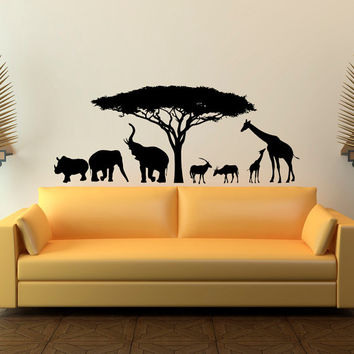 Animal Wall Decal Stickers- Safari Wall Decal Wild Animals- Jungle Wall Decal Animal Stickers Bedroom Kids Nursery Home Decor Wall Art C110