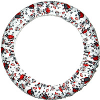 Red/Gray Owls Steering Wheel Cover, Cute Girly Cotton Car Wheel Cover, Made in USA,Personalized Gift