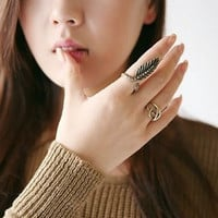 Vintage Feather Ring Set