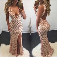 2016 Christmas Long Sequin Dress Backless Elegant Women Maxi Evening Party Dress Split Night Club Lady Night Dress vestido longo
