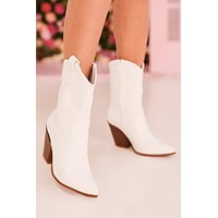 Dolly Croc Print Western Boots (White)