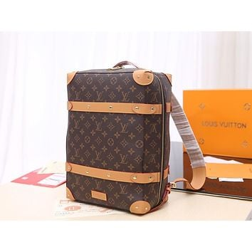 LV Louis Vuitton MONOGRAM CANVAS VINTAGE TRUNK BACKPACK BAG