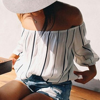 White Off-The-Shoulder Striped Blouse