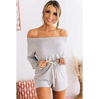 Falling To Pieces Off The Shoulder Romper (Heather Grey)