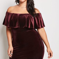 Plus Size Velvet Flounce Dress