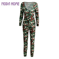 Sexy Outfits Women Jumpsuit Camouflage Print V Neck Long Sleeve Bodycon Playsuit Rompers Army Green Catsuit