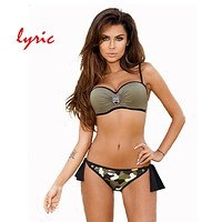 lyric Bandeau Bikini Set Push Up Swimsuit Women's Swimming Suit Hot Swimwear Sexy Bathing Suit Hipster Juniors Bather Beach Wear