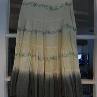 Late 70's Peasant Skirt with Side Zipper Size 8 Yellow and Green Dyed Skirt Hippie Hipster Boho Flair Skirt