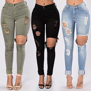 2020 new women's high waist high elastic big hole pencil pencil feet jeans