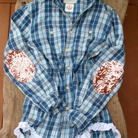 """The Boyfriend """"Dazzle Y'All"""" Flannel Shirt - w/Sequin Elbow Patches"""
