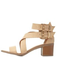 Strappy Crisscross Low Heel Sandals by Charlotte Russe