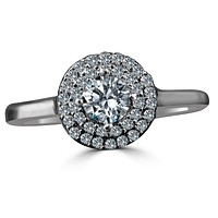 Intensely Radiant Round Diamond Silver Ring