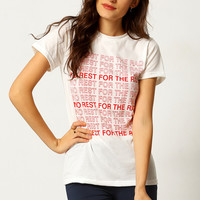White Round Neck Letters Print Loose T-Shirt | MakeMeChic.COM