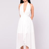Noella High Low Dress - White