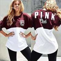 2016 Autumn Women Blouse Love Vs Pink Letter Print Hoodie Frenchterry  Sweatshirts Fashion Harajuku Tracksuit Crop Tops