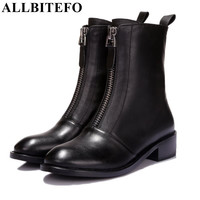 ALLBITEFO fashion flat heel casual zipper ankle boots genuine leather round toe platform martin boots autumn/winter women boots