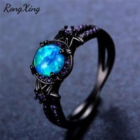 RongXing Blue Fire Opal Star Flower Rings For Women Vintage Fashion Black Gold Filled Purple Zircon Ring Wedding Jewelry RB1349