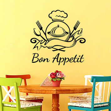 Wall Decal Vinyl Sticker Decals Chef Hat Bon Appetit Fork Spoon Cutlery Cafe Kitchen Decor Dining Room Interior Murals Window Decal AN740