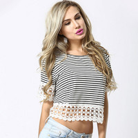 Striped Short Sleeve Lace Cropped Top