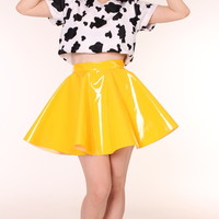 Glitters For Dinner — Made To Order - Yellow PVC Skirt By GFD