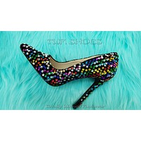 """Ricky 15 Black Multi Color Sequin Pointy Toe Pump Shoe 4.5"""" High Heels 6- 11"""