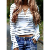 V-neck striped shirt
