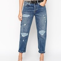 ASOS Low Slung Straight Leg Jeans With Rip and Repair Patches