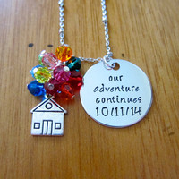 UP Inspired Necklace. Adventure is out there! Custom Wedding Gift. Wedding Date Necklace. Swarovski crystals. Hand Stamped. Ellie & Carl