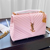 YSL Bag Saint Laurent chain bag bronze buckle bag pink