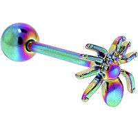 Rainbow Titanium Anodized 3-D Spider Barbell Tongue Ring