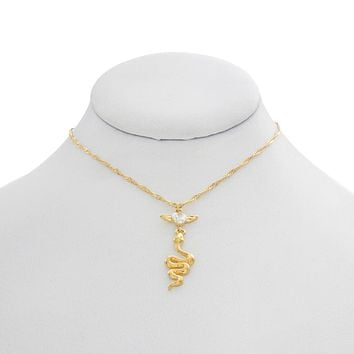 Snake Heart Charm Necklace