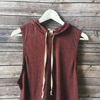 Charlie Tie Hooded Tank (Burgundy)