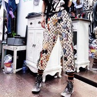 """Louis Vutitton"" Women Casual Fashion Personality Print Multicolor Stripe Leisure Pants Trousers Sweatpants"