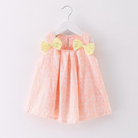 New cute pink double bow tie doll dress