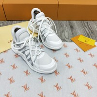 LV Louis Vuitton Women's Leather Fashion Sneakers Shoes