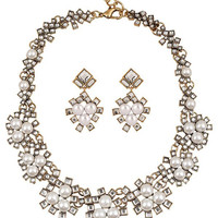 A Suit of Faux Pearl Rhinestone Wedding Jewelry Set