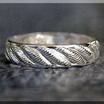 Sterling Silver Ring, Striped Sterling Silver Stacking Ring, Silver Textured Ring, Sterling Silver Wedding Ring, Sterling Silver Band