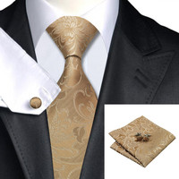 Noble Golden Brown Floral Silk Necktie Suit Set