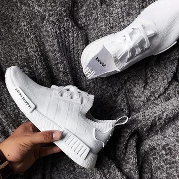 Adidas NMD R1 PK Triple White Casual Running Sport Sneakers Shoes