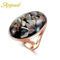 Ajojewel Brand #7-12 Trendy Jewelry Unisex Rose Gold Color Big Oval Shaped Sea Shell Rings For Men Women