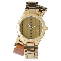 Striped Modern Abstract in Black, Gold, and Olive Watch