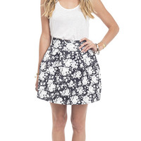 Black and White Floral Elastic Pleated Skirt