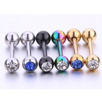 Fashion Body Piercing Jewelry Tongue Ring charm rhystone Silver black gold Tongue Studs For women men Free Shipping 1pc